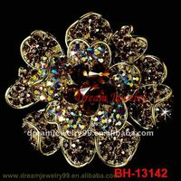 fashion crystal shoe brooches big flower antique brooch pins scarf hijab pins