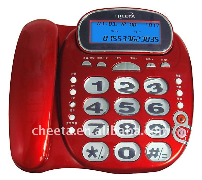 Big Button Red Caller ID Phone