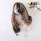 fashionable three color step-by-step gradient woven voile scarf