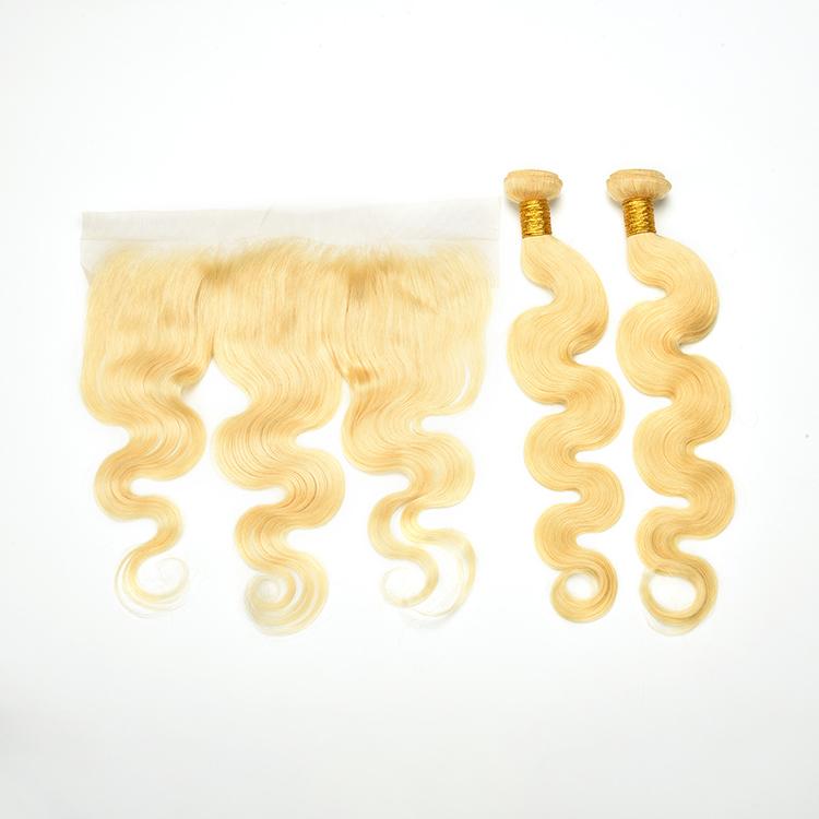 Best wholesale body wave virgin hair bundles with closure 613# blonde extensions фото