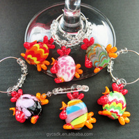 Hot sale murano glass wine charm and ring for rooster themed wine glass charms