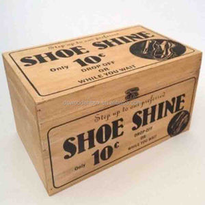 Custom logo Printing Natural Hinged Wooden Shoe Shine Box