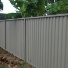 Black and Woodland Grey Sheet Metal Steel Colorbond Fencing Panel .