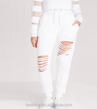 online store ab1bf 47b8f Wholesale white women ripped joggers