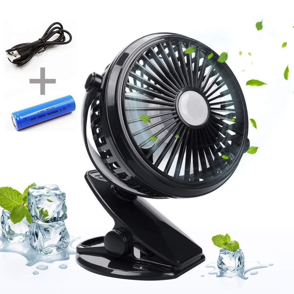 Battery Operated USB Clip on Fan for Baby Stroller Car Back Seat Laptop Travel Outdoors Camping ,Small Personal Fan Mini Desk Table Fan Portable Hand Held Powered by Rechargeable 18650 Battery or USB