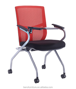 Classroom student mesh folding study training chair with writing pad