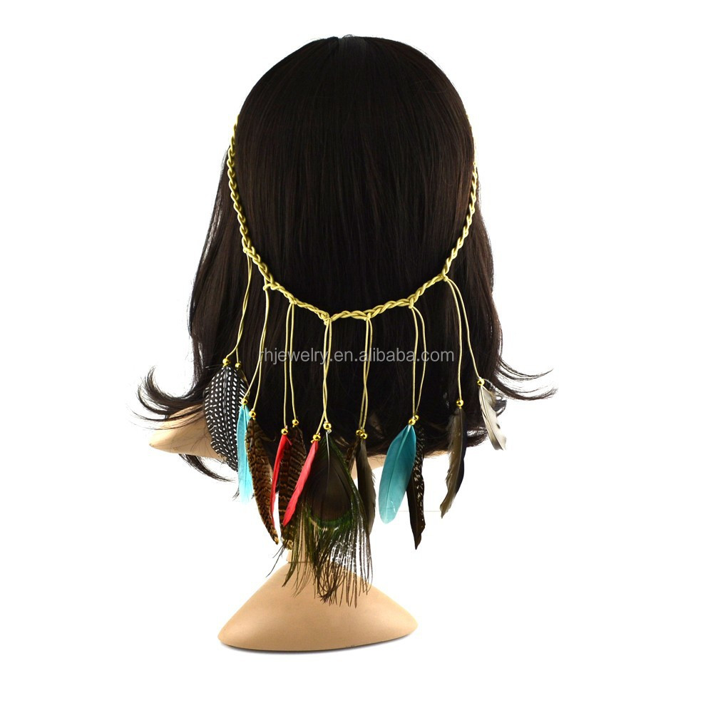2015 New Arrival Bohemia natural feather elastic hair wrap/hairband/headband&necklace