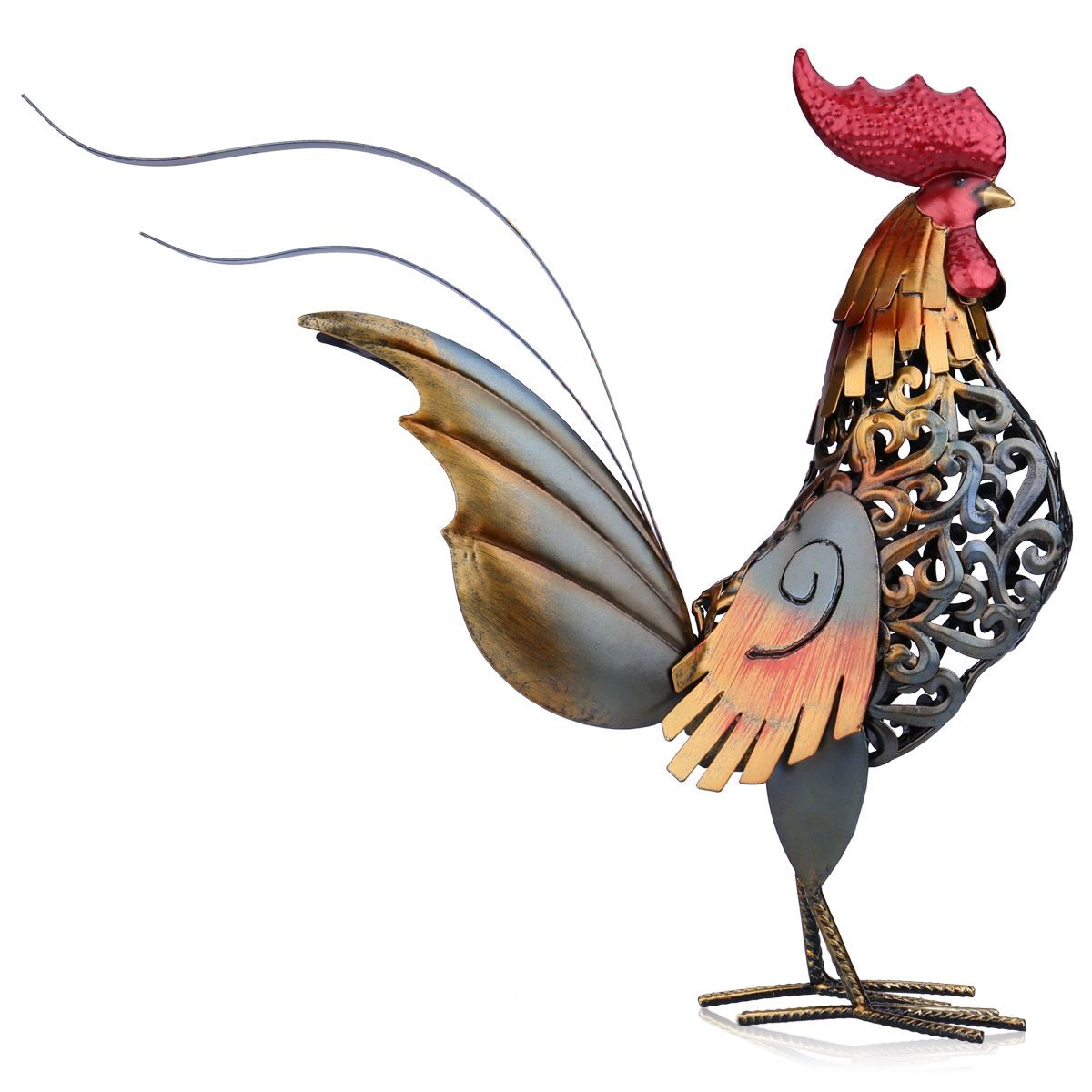 Tooarts Metal Figurine Iron Rooster Home Decor Articles: Tooarts Metal Sculpture Carved Iron Rooster Home