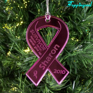 Purple Ribbon Glass Hanging Ornament For Children Holiday Gifts