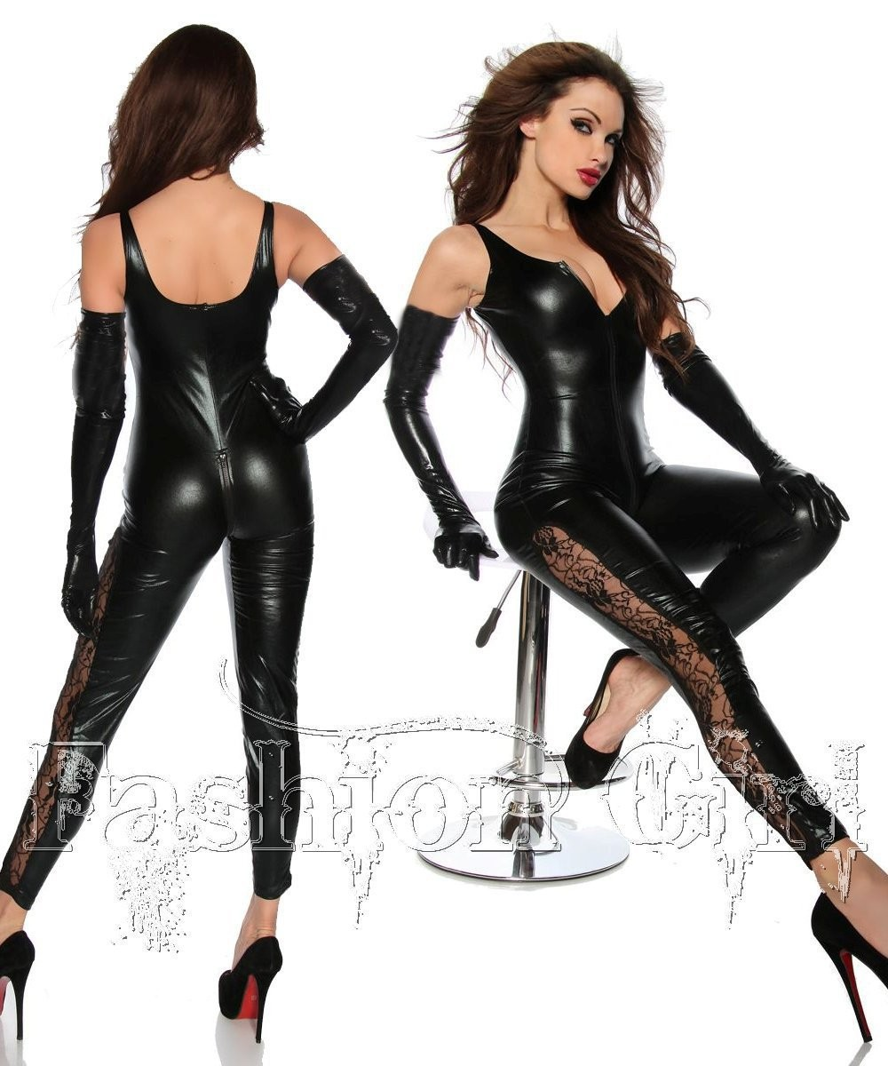 21f011f3776d Get Quotations · Black PVC Faux Leather Erotic Bodysuit Costume Women Sexy  Backless Catsuit Cat suit Leotard Latex Costume