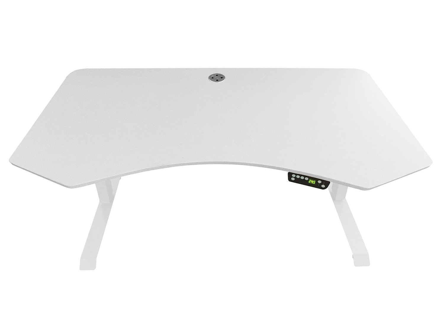 """Ergomax Office ABC592WT232WT Electric Height Adjustable Desk Set with 55"""" x 28"""" Desktop, White Tabletop White Base"""