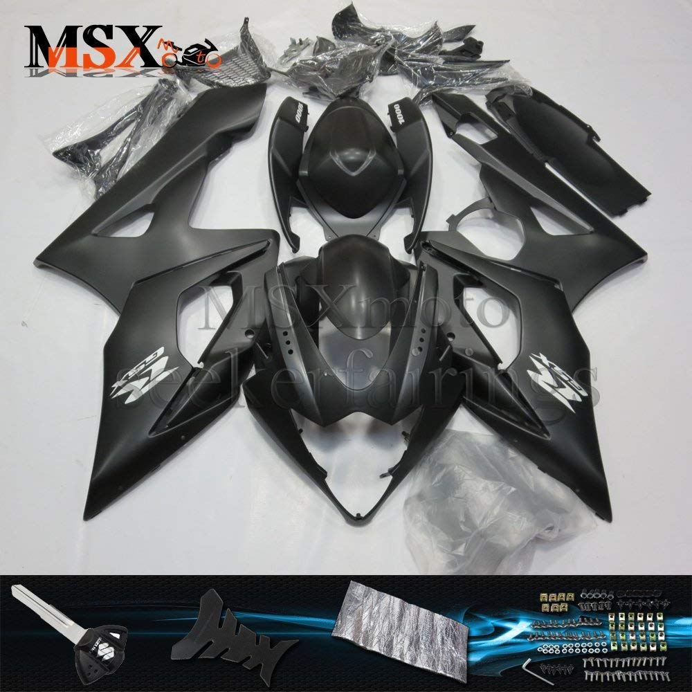 MSXmoto Fairing Kit Fit for Suzuki GSXR1000 K5 05 06 GSX1000R 2005 2006 Motorcycle Fairing Kit Plastic ABS plastic Injection Molding Kit Complete Motorcycle Fairing Bodywork Painted(Black)