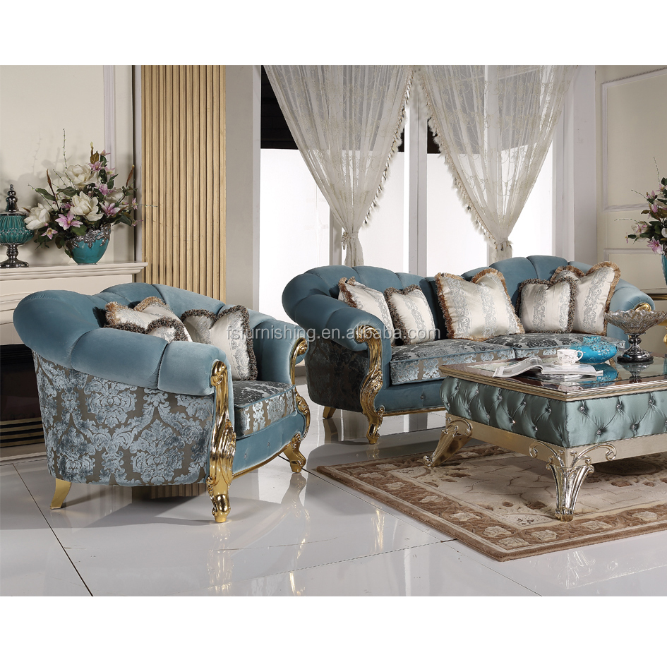 HM2097 Luxurious European Style Gold Gilt Wooden Sofa Set/Upholstery Living Room Sofa