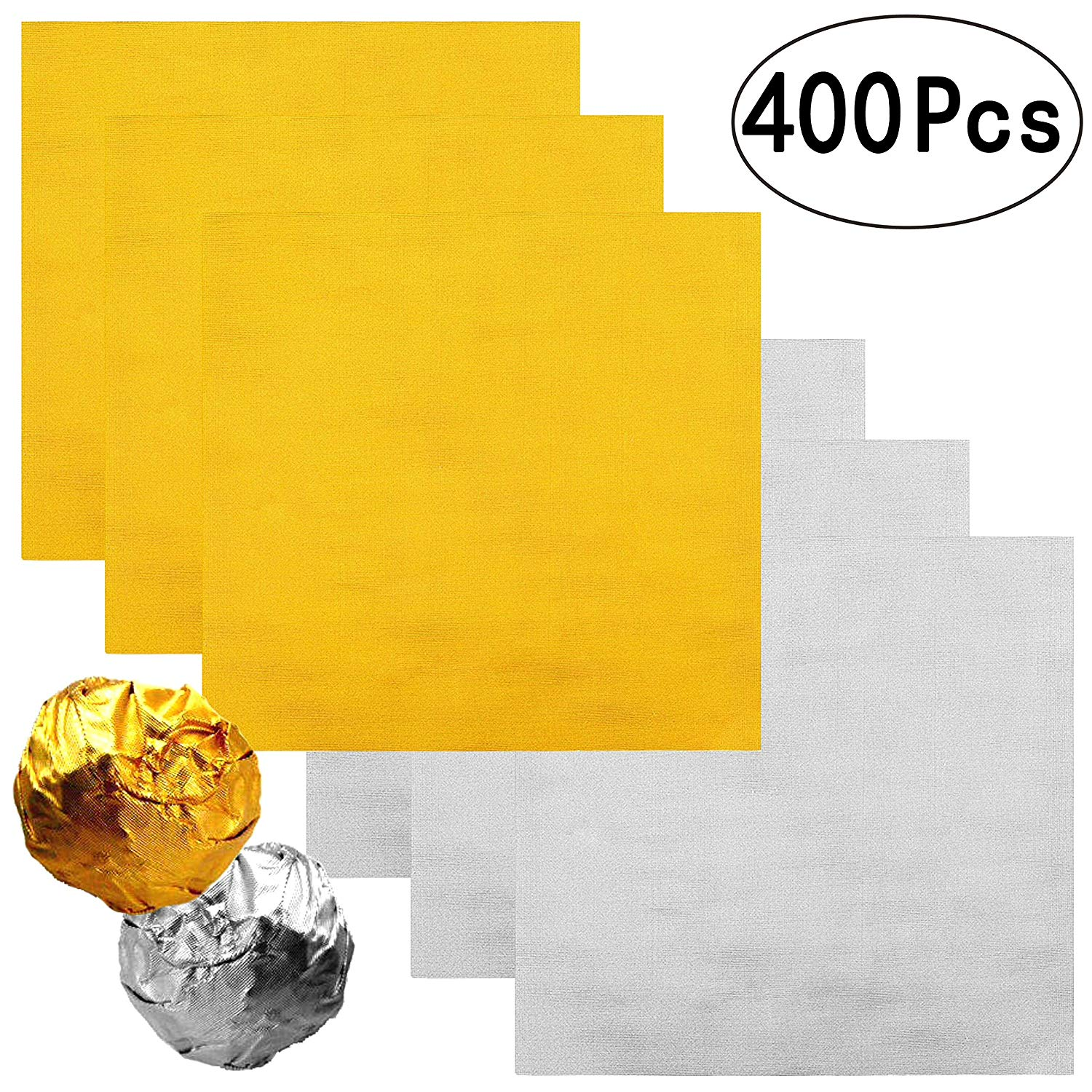 4 Inch Home-made Chocolate Candy Foil Wrappers Gold Aluminium Foil Mylar Wrapping Papers Sheets Wedding Thank You Treat Candy Packaging Gift Decoration, 400 PC