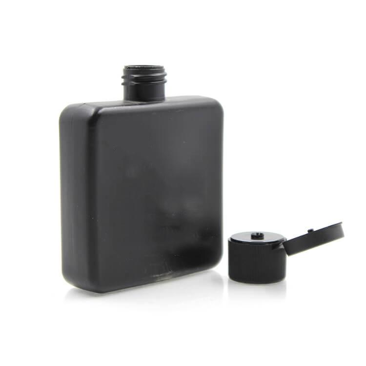 120 ml 4 oz plat carré noir mat corps lotion pour la peau crème bouteille avec capuchon