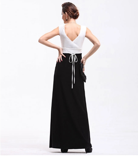 8d51f659c Última moda sexy v-cuello mujer vestido blanco y negro noche Vestidos largos