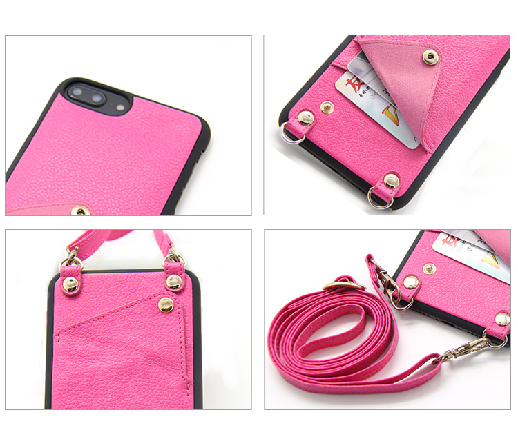 Guangzhou hot selling shockproof luxury leather crossbody phone case with shoulder strap for iPhone 7/8 Plus