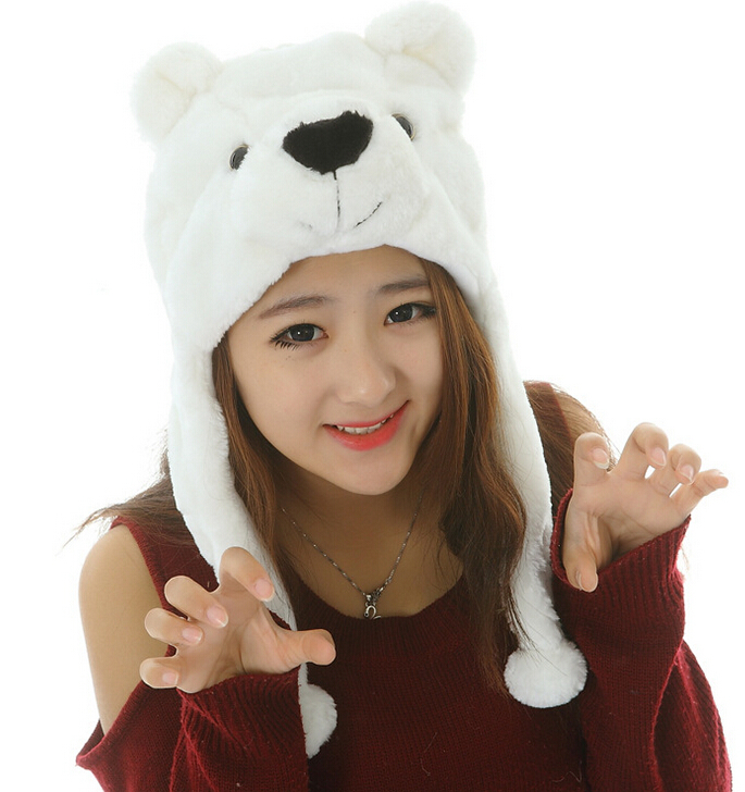 Get Quotations · cute Polar Bear Halloween Animal cosplay hat Warm Hat  plush hat d091cd227ca6