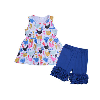 Bbaby Girls Summer Clothing Sets Animals Printing Two Piece Tunic Sets Baby Farms Ooutfit