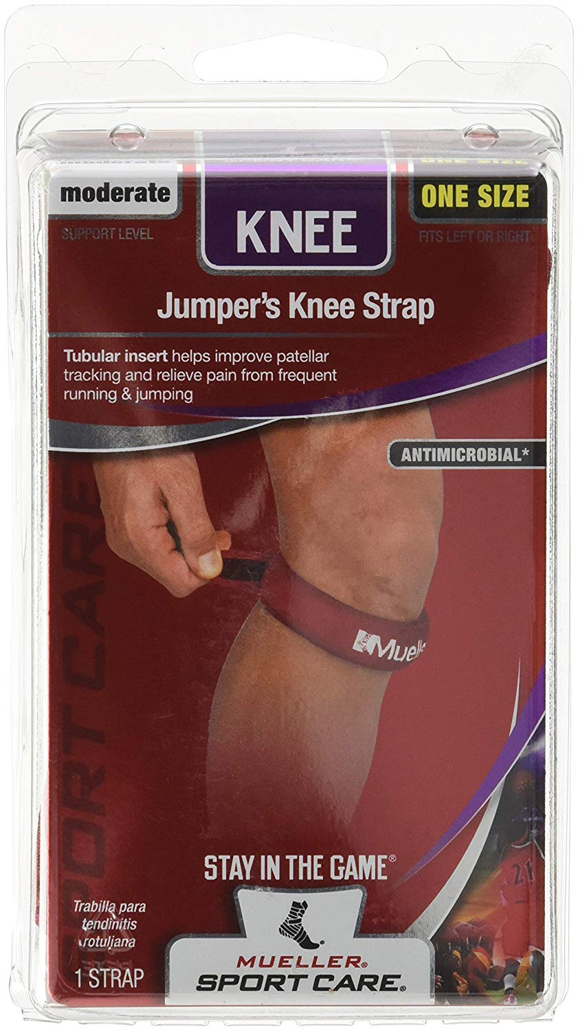 79edad1230 Get Quotations · Mueller Jumper's Knee Strap, Red, One Size Fits Most (Pack  of ...