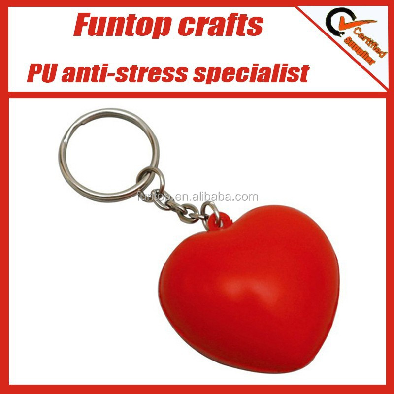 PU foam promotional give away logo print red heart stress keyring