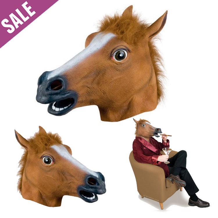 98117d186fea Get Quotations · 2015 New Funny Party Mask / Creepy Horse Mask Head  Halloween / Christmas Costume Theater Prop