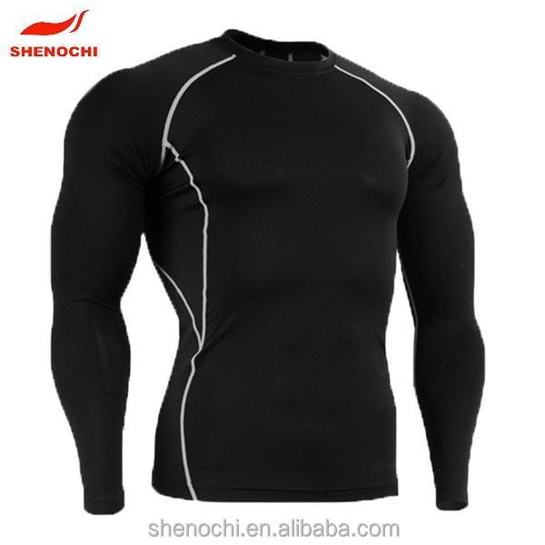 Spandex quick dry fabric wholesale compression shirt men skin tight running t-shirt