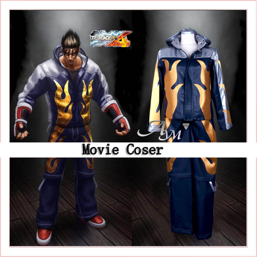 new custom made tekken 4 jin kazama cosplay costume leather costume