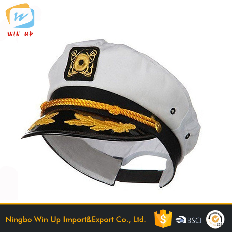 WINUP Customized embroidery flat brim captain hat military sailor hat