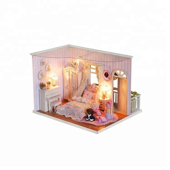 2017 Christmas Village Gift Beautiful princess toy wooden doll house with light,kids craft kits wholesale
