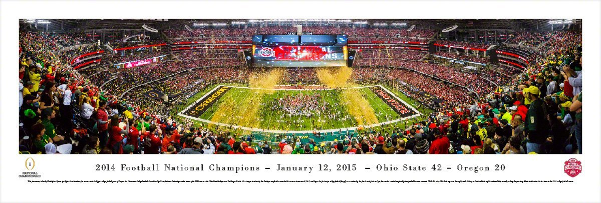 COLLEGE FOOTBALL CHAMPIONS - UnFramed Panoramic Print