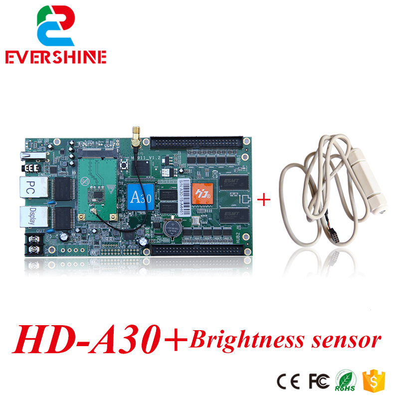 Indoor and outdoor full-color control card huidu card HD-A30 led Asynchronous display controller + Brigntness sensor
