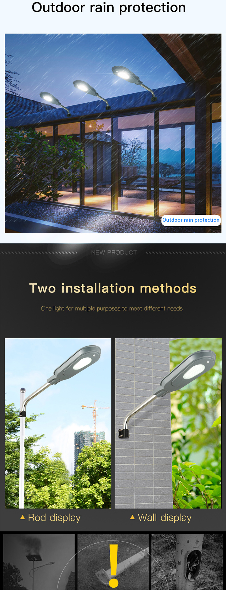 IP65 waterproof monocrystalline solar panel 40 watt solar led street lamp