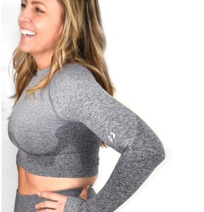 life gear fitness SEAMLESS LONG SLEEVE CROP Seamless long sleeve with thumb holes