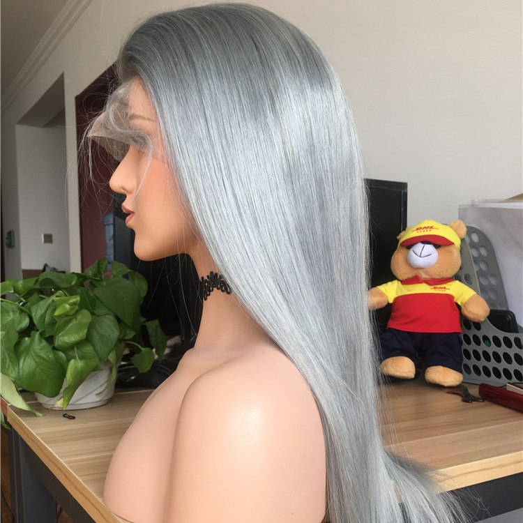 cuticle aligned fast shipping cheap straight grey 13*4 lace wig with elastic band human hair lace front wig for black woman, N/a