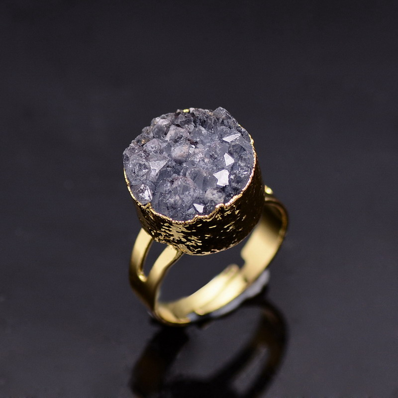 SEDmart Natural Stone Druzy Quartz Crystal Women Rings