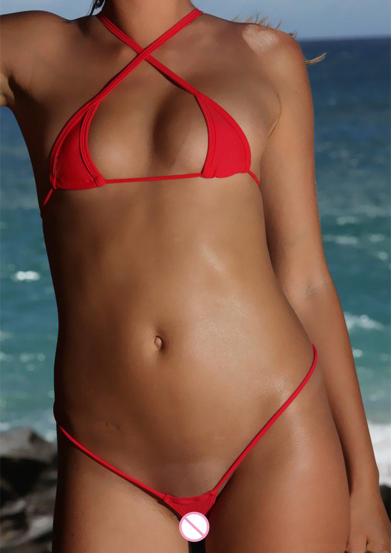 875e27bb7ee 2019 Mini Micro Bikinis Set Women Cotton Mesh Transparent Sexy ...