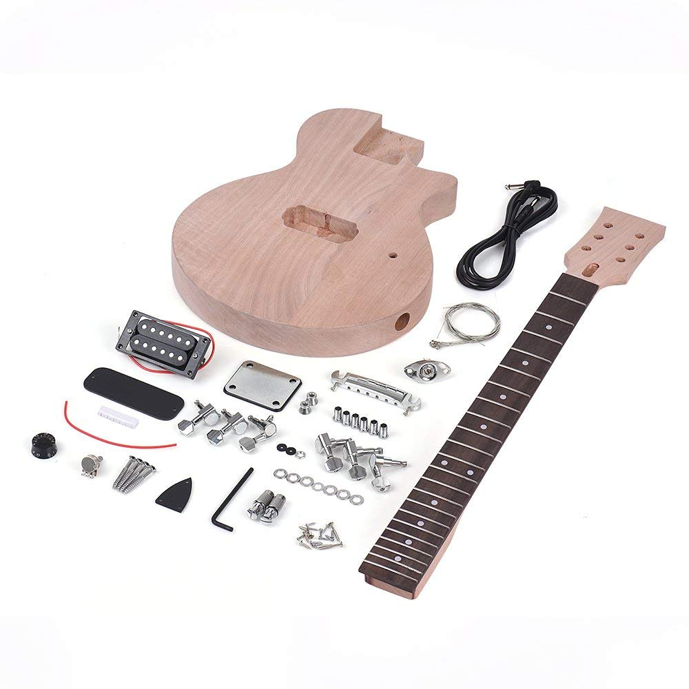 ammoon Unfinished DIY Electric Guitar Kit Children LP Style Mahogany Body & Neck Rosewood Fingerboard Single Dual-coil Pickup