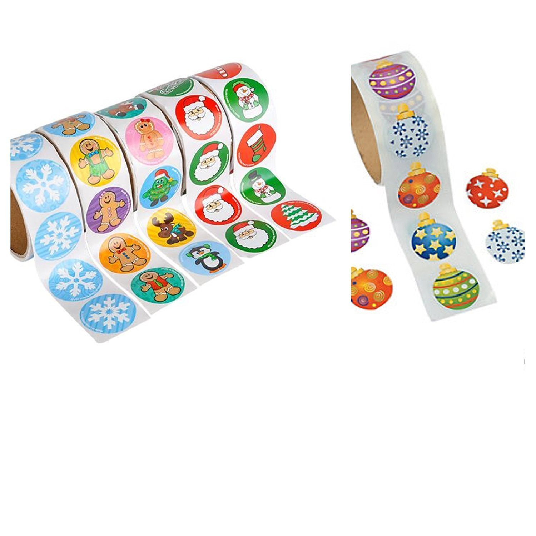 600 Festive CHRISTMAS Stickers - 6 Rolls of 100 - Snowman SANTA Ornaments Snowflakes HOLIDAY - Teacher CLASSROOM Daycare