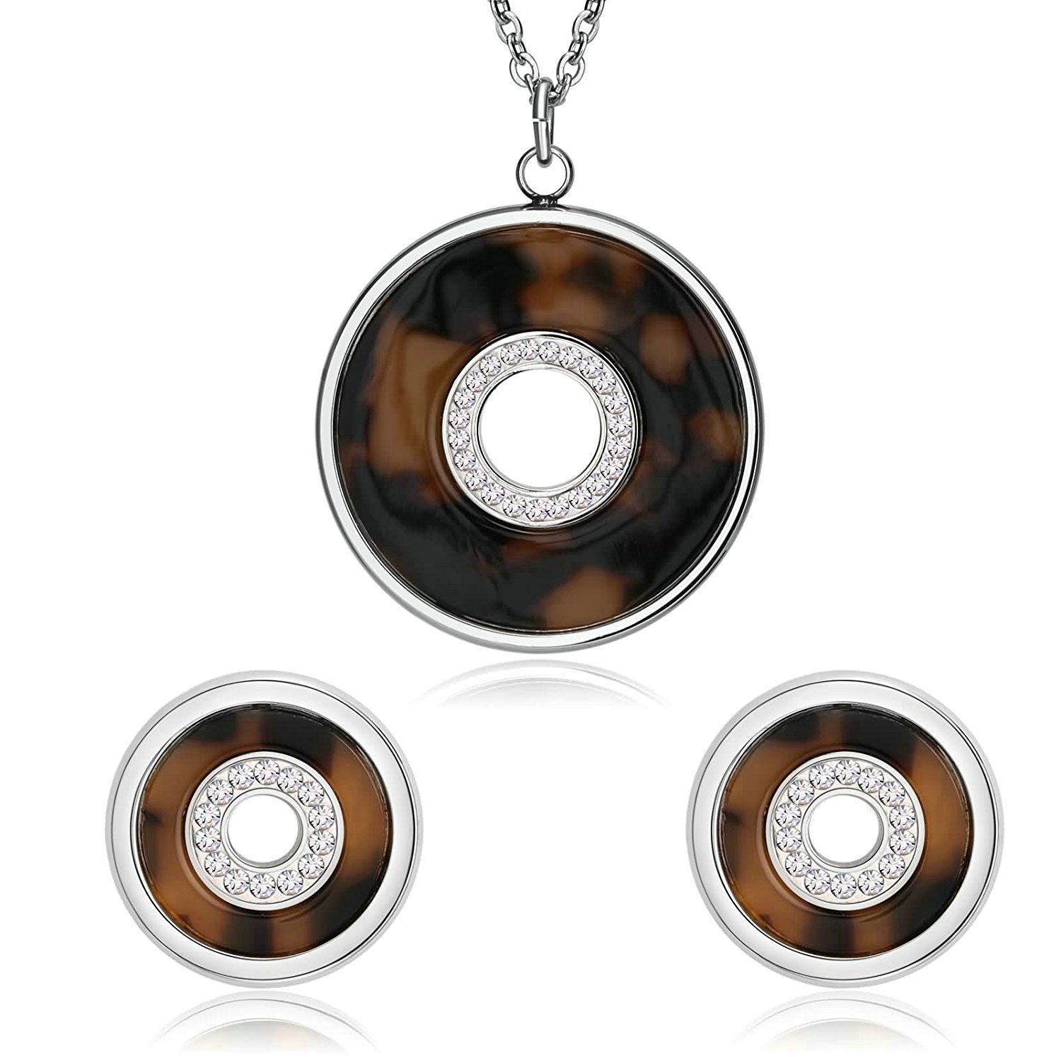 AMDXD Jewelry Women Stainless Steel Earring and Necklace Set Circle Shiny Crystal Silver Brown