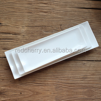 Western restaurant ceramic tableware custom Creative strip plate Pure white Japanese sushi rectangle of barbecue all the plates