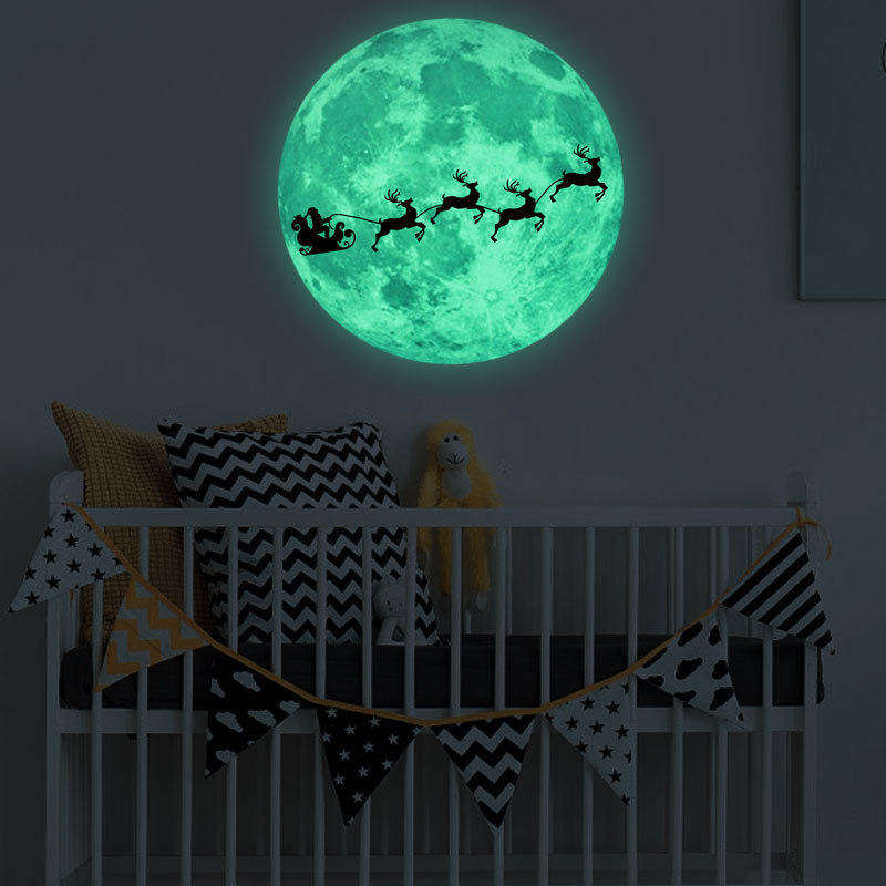 luminous promotional gifts / crafts custom Fluorescent 3D moon sticker Glow In The Dark Wall Sticker for kid room decoration
