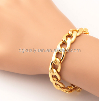 gold cuban bracelets link img hollow yellow bracelet thick wide