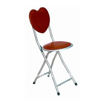 Red Heart Shaped Steel Folding Chair