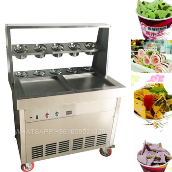 double fry ice pan machine fried rolling commercial ice cream machine for sale
