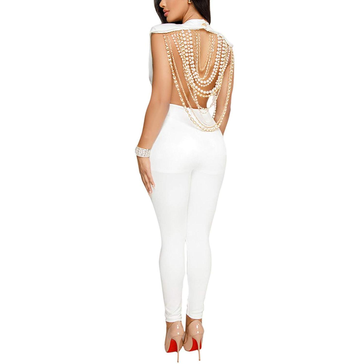 76a4a96f3973 Get Quotations · Kafiloe Womens Backless Sleeveless Party Club Cocktail One  Piece Bodycon Jumpsuit Outfit Romper White M