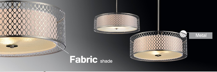 Modern pendant lamp glass and fabric shade pendant chandelier