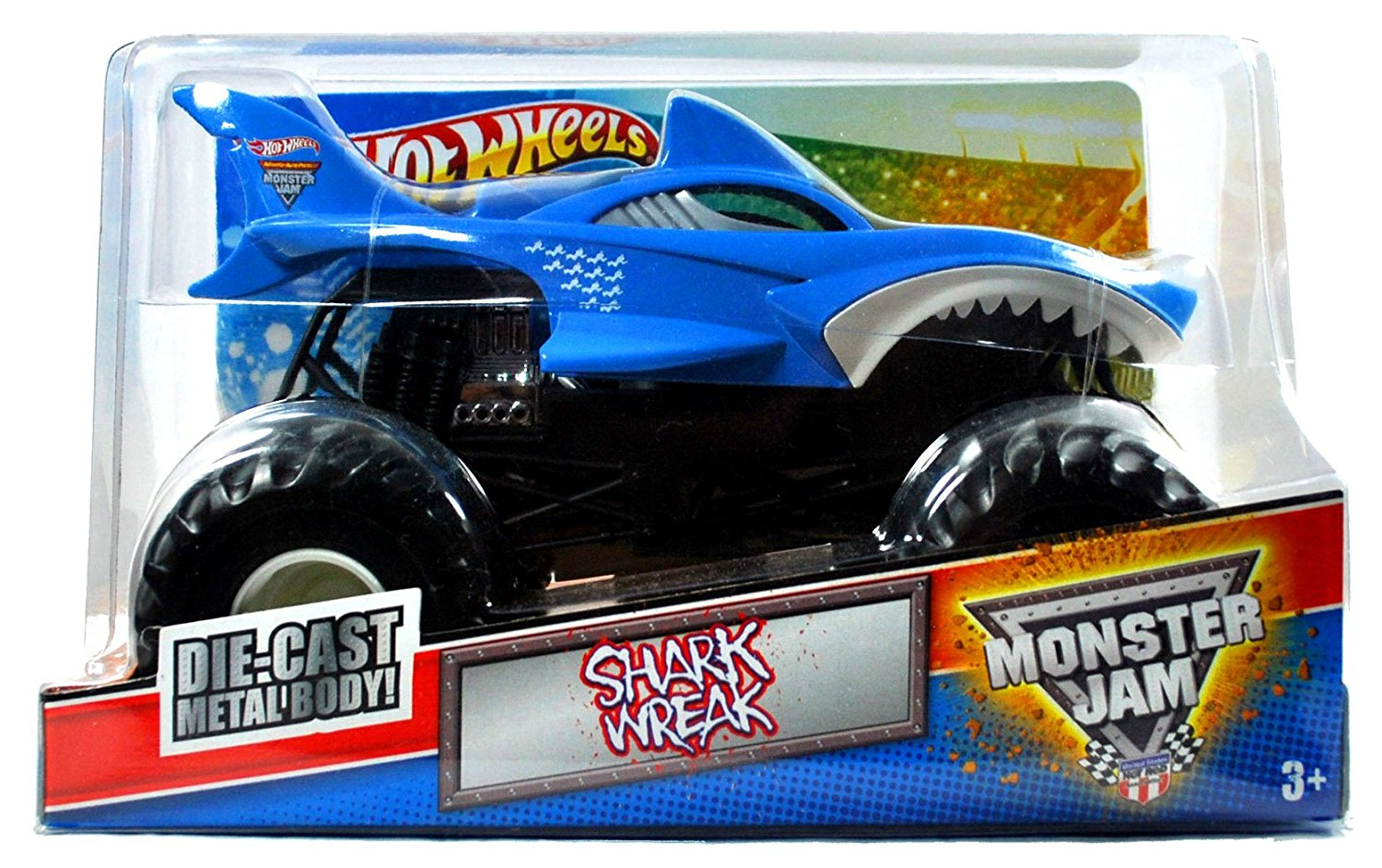 """Hot Wheels Monster Jam 1:24 Scale Die Cast Metal Body Official Monster Truck 2011 Series #T8511 - SHARK WREAK with Monster Tires, Working Suspension and 4 Wheel Steering (Dimension : 7"""" L x 5-1/2"""" W x 4-1/2"""" H)"""