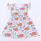 Children Boutique Clothing Kids Ruffle Sleeve Pumpkin Print Dress Baby Girls Ruffle Dresses