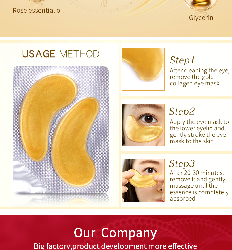 OEM Skin Care Anti Wrinkle Wholesale For Dark Circles Private Label 24k Gold Collagen Patches Masks Gel Under Eye Pads